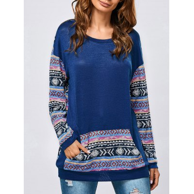 Kangaroo Pocket Tribal Print Sweatshirt