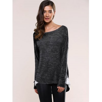 Lace Insert Asymmetric Pullover Sweater