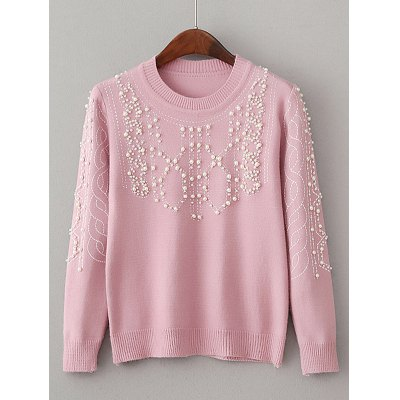 Pullover Knitwear with Faux Pearl