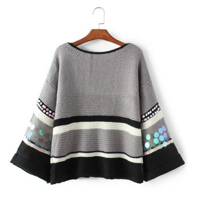Batwing Striped Sweater with Sequin