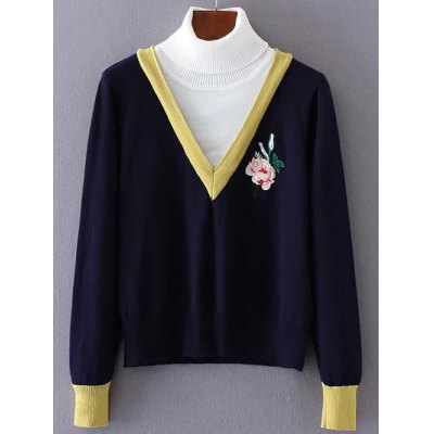 Turtleneck Rose Embroidered Pullover Knit Sweater