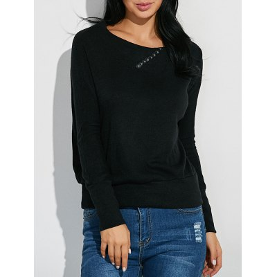 Ribbed Button Embellished Knitwear