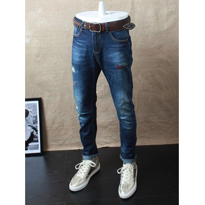 Embroidery Zip Fly Distressed Jeans