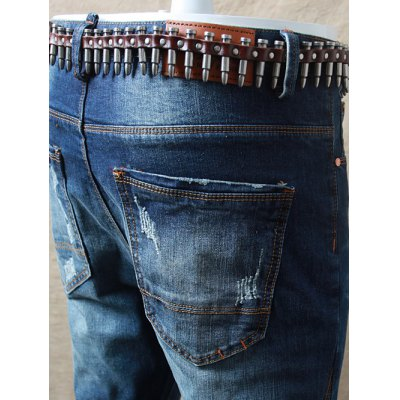 Skinny Zipper Fly Distressed Jeans