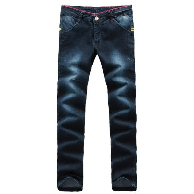 Arrow Pattern Patch Zip Fly Jeans