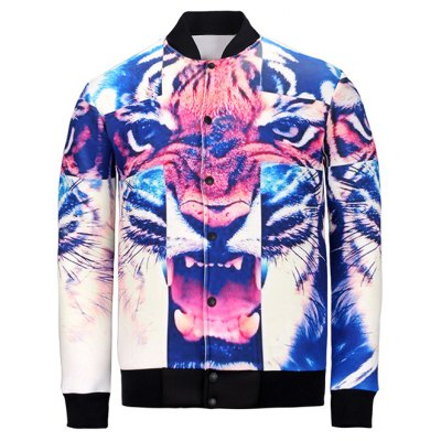 3D Cross and Tiger Print Stand Collar Jacket