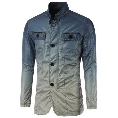 Stand Collar Button Up Ombre Jacket