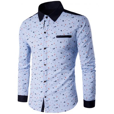 Printed Contrast Insert Button Up Shirt