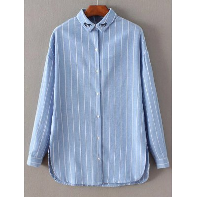 Embroidered Striped Shirt