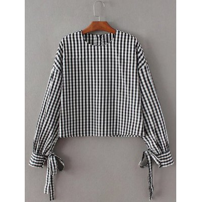 Checked Long Sleeve Back Button Blouse