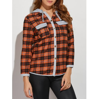 Front Pockets Hooded Plaid Shirt