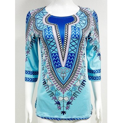 Slit African Printed Blouse