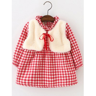 Long Sleeve Checked Mini Dress With Vest