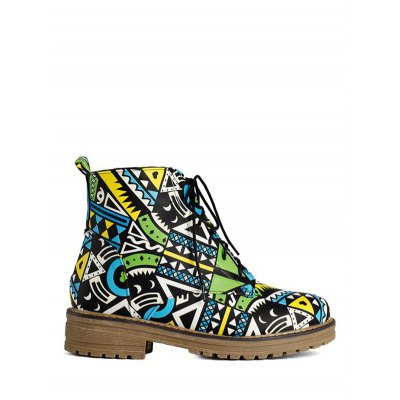 Patchwork Flat Heel Ankle Boots