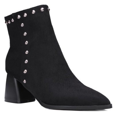 Pointed Toe Rivet Flock Chunky Heel Boots
