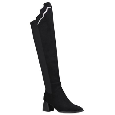 Pointed Toe Splicing Chunky Heel Boots