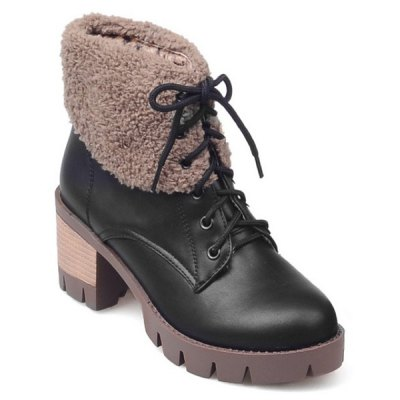 Lace-Up Fuzzy Chunky Heel Short Boots
