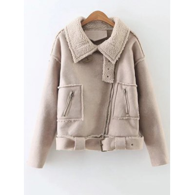 Borg Lined Faux Suede Jacket