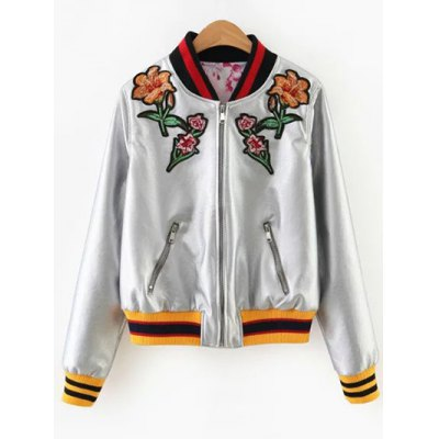 Floral Embroidered Metal Colour PU Leather Jacket