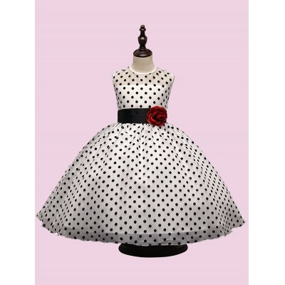 Flower at Waist Polka Dot Ball Gown