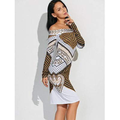 Off shoulder long sleeve geometric bodycon dress
