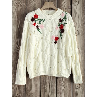 Round Neck Cut Out Floral Embroidered Sweater