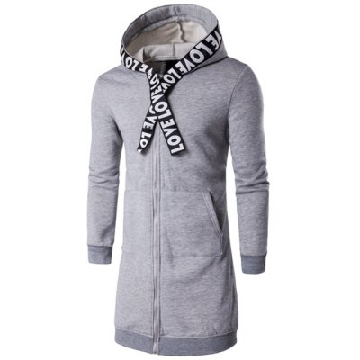 Plus Size Zip Up Selvedge Embellished Hooded Coat