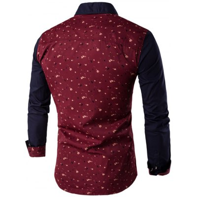 Contrast Insert Chest Pocket Printed Shirt от GearBest.com INT
