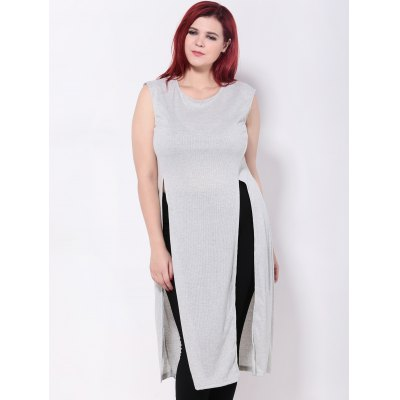 Split Extra Long Plus Size Tank Tops