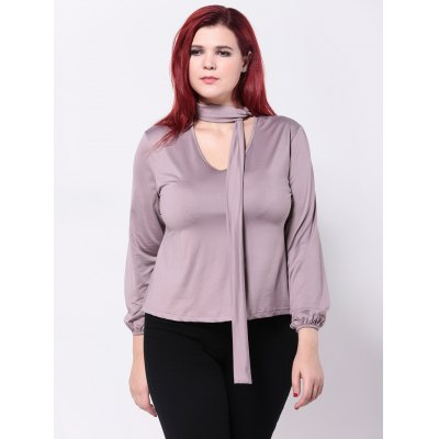 Tied-Up Long Sleeves Slimming T-Shirt