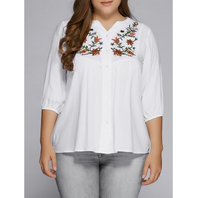 Plus Size Button Fly Floral Embroidered Top