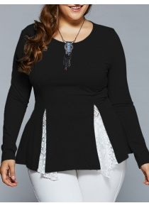 Plus Size Lace Insert Asymmetrical Blouse
