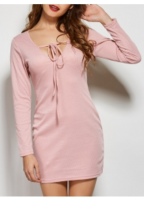 Front Tie Long Sleeve Bodycon Casual Dress