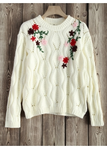 Cut Out Floral Embroidered Sweater