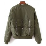 cheap Rhinestoned Patched Zip-Up Jacket