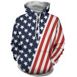 Hooded Stripes and Stars Pattern Hoodie
