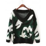 Drop Shoulder Camouflage Pattern Sweater