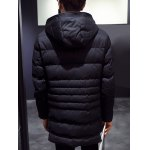 cheap Hooded Zip-Up Button Embellished Lengthen Padded Coat