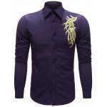 Embroidered Turn-down Collar Button Up Shirt