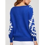 Geometric Crew Neck Knit Sweater for sale