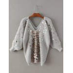 Batwing Chunky Sweater with Sequin