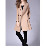 Collarless A Line Woolen Overcoat for sale