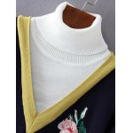 Turtleneck Rose Embroidered Pullover Knit Sweater deal