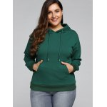 cheap Plus Size Front Pocket Loose Hoodie