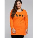 cheap Plus Size Envy Letter Sweatshirt With Racerback Tank