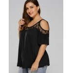 cheap Plus Size Lace Insert Cut Out T-Shirt