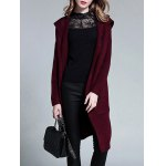 cheap Plus Size Knitted Hooded Cardigan