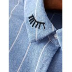 Long Sleeve Embroidered Striped Shirt for sale