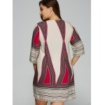 Plus Size Embroidered Geometric Print Dress for sale