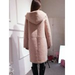Hooded Convertible Sueded Long Coat for sale